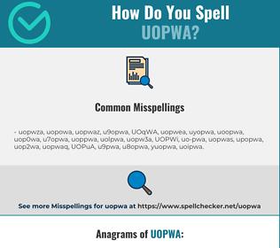 Correct spelling for UOPWA