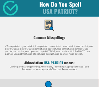 Correct spelling for USA PATRIOT