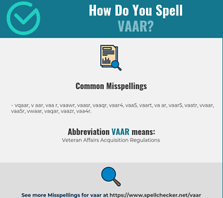 Correct spelling for VAAR