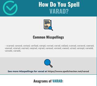 Correct spelling for VARAD