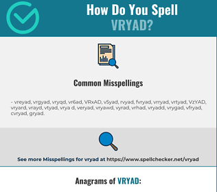 Correct spelling for VRYAD