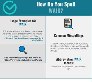 Correct spelling for WAIK