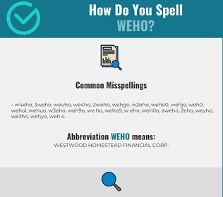 Correct spelling for WEHO