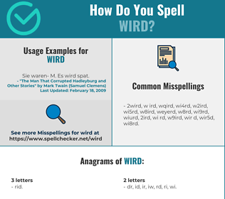 Correct spelling for WIRD