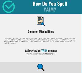 Correct spelling for YAIM