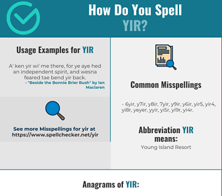 Correct spelling for YIR
