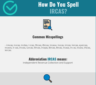 Correct spelling for IRCAS