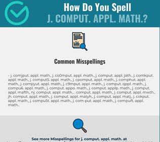 Correct spelling for J. COMPUT. APPL. MATH.