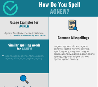 Correct spelling for Agnew