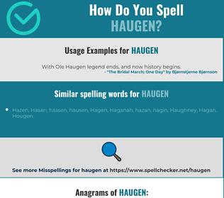 Correct spelling for Haugen