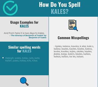 Correct spelling for kales