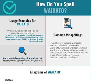 Correct spelling for Waikato
