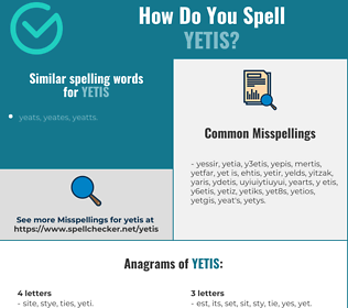Correct spelling for yetis
