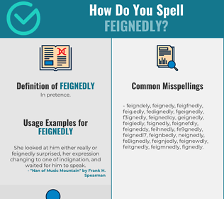 Correct spelling for feignedly