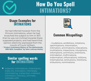 Correct spelling for intimations