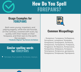 Correct spelling for forepaws