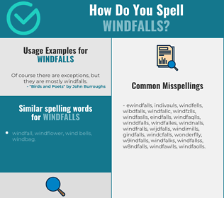 Correct spelling for windfalls