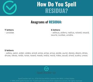 Correct spelling for residua