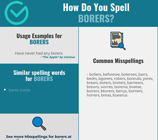 Correct spelling for borers