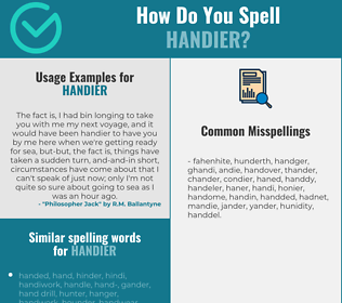 Correct spelling for handier