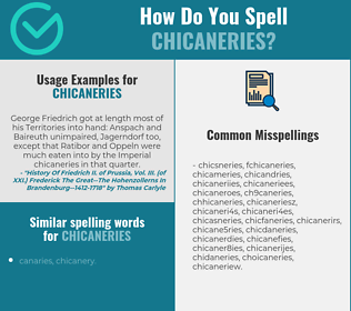 Correct spelling for chicaneries