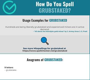 Correct spelling for grubstaked