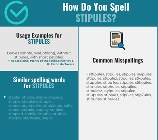 Correct spelling for stipules