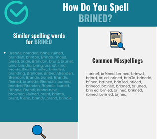 Correct spelling for brined