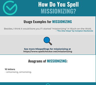 Correct spelling for missionizing