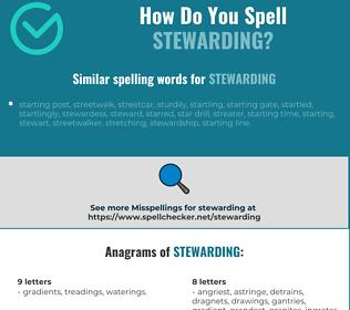 Correct spelling for stewarding [Infographic] | Spellchecker net