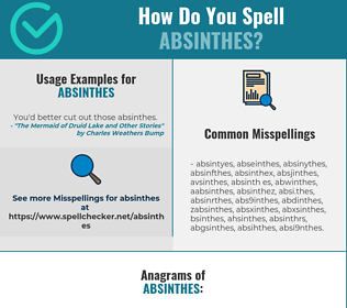 Correct spelling for absinthes