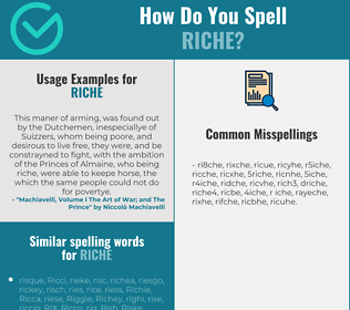 Correct spelling for riche