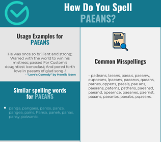 Correct spelling for paeans