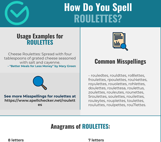Correct spelling for roulettes