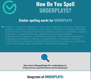 Correct spelling for underplays