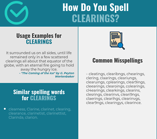 Correct spelling for clearings