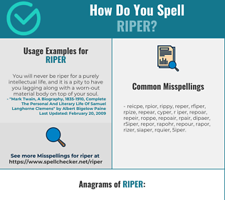 Correct spelling for riper
