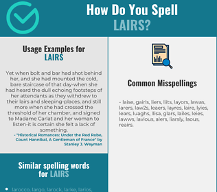Correct spelling for lairs