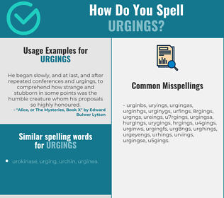 Correct spelling for urgings