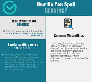 Correct spelling for denning
