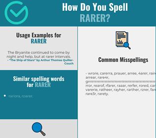 Correct spelling for rarer