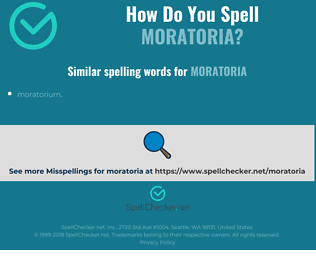Correct spelling for moratoria