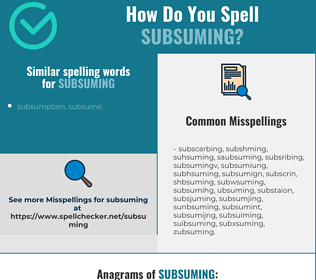 Correct spelling for subsuming