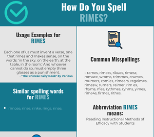 Correct spelling for rimes