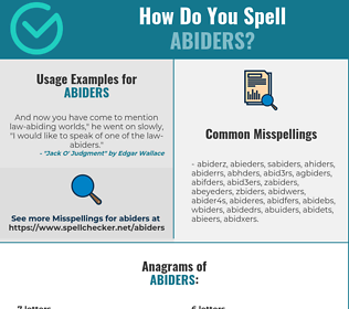Correct spelling for abiders