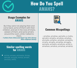 Correct spelling for amahs