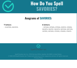 Correct spelling for savories