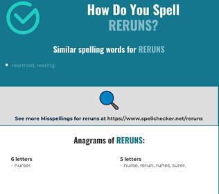 Correct spelling for reruns