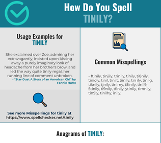 Correct spelling for tinily
