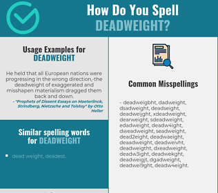 Correct spelling for deadweight
